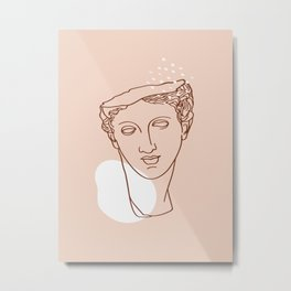 Aphrodite Head Line Art Metal Print