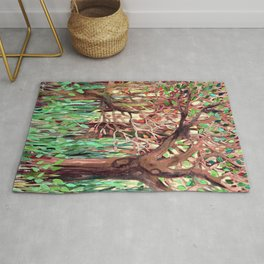Lost in the Forest - watercolor painting collage Rug