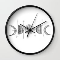 moon phase Wall Clocks featuring Moon by mishart