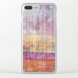 Destin Harbor Pink Sky Sunset abstract mixed media Clear iPhone Case