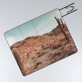 Saguaro Mountain // Vintage Desert Landscape Cactus Photography Teal Blue Sky Southwestern Style Picnic Blanket