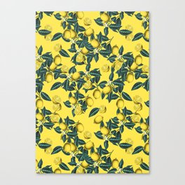 Lemon and Leaf Pattern III Canvas Print