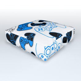 Video Games Blue on White Outdoor Floor Cushion
