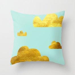 Gold cloud blue Throw Pillow