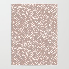 Little wild cheetah spots animal print neutral home trend warm dusty rose coral Poster