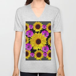 PURPLE FLOWERS & SUNFLOWERS DECO ART Unisex V-Neck