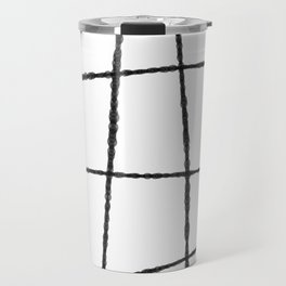 Black and White Ink Lines Travel Mug