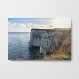 White chalk cliffs with the sun shinning Metal Print