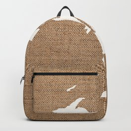 Michigan is Home - White on Burlap Backpack