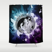 roller derby Shower Curtains featuring Nouveau Roller Derby World by Mean Streak