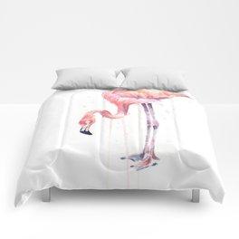 Flamingo Watercolor Painting Pink Tropical Birds Facing Left Comforters