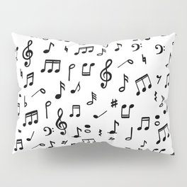Music notes in black and white Pillow Sham