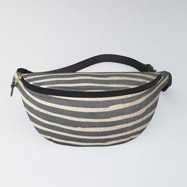 White Gold Sands Thin Stripes on Black Fanny Pack