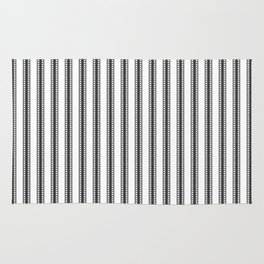 Black and White French Fleur de Lis in Mattress Ticking Stripe Rug