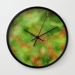 Rain drops on glasshouse window Wall Clock