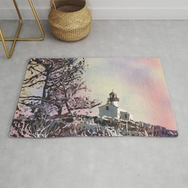 Old Point Loma Lighthouse in Cabrillo National Monument.  Watercolor painting of lighthouse. Rug