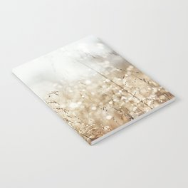 Dewdrop Nature Photography, Neutral Dew Drop, Gold White Brown Beige, Cream Water Drops Notebook