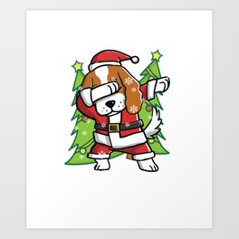 Cavalier King Charles Spaniel Dabbing Through The Snow Christmas Art Print
