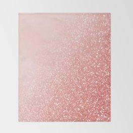 Rose Gold Pink Mermaid Sparkles V Throw Blanket