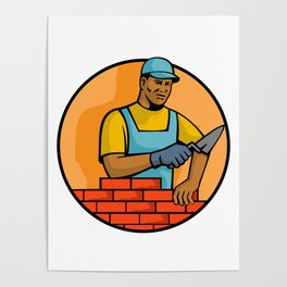 African American Bricklayer Mascot Poster