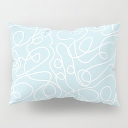 Doodle Line Art | White Lines on Palest Blue Pillow Sham