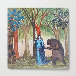 The lady and the bear Metal Print