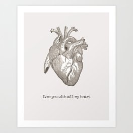 Love you with all my heart vintage illustration Art Print