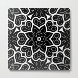 Black and White Flower Hearts Metal Print