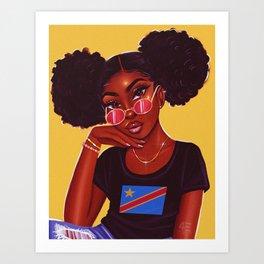 congolese babe - yellow Art Print