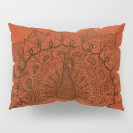 Doodle peacock on red Pillow Sham