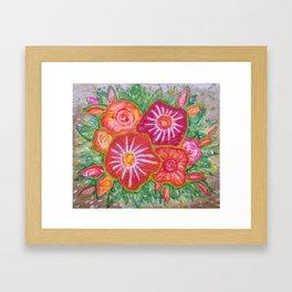 Orange Fantasy Flowers Framed Art Print
