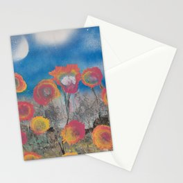 Pink and Yellow Flowers at Twilight - Spray Paint Art Stationery Cards