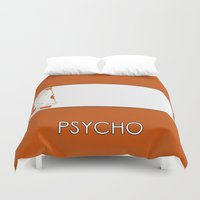 psycho Duvet Covers featuring Psycho by MacGuffin Designs