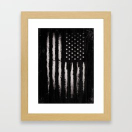 White Grunge American flag Framed Art Print