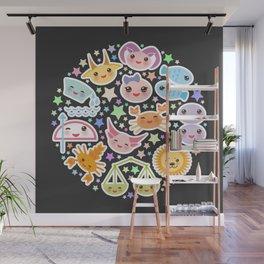 Funny Kawaii zodiac sign,  virgo, aries, gemini, cancer, aquarius, taurus, leo, libra sagittarius Wall Mural