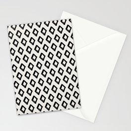 Modern Diamond Pattern 2 Black on Light Gray Stationery Cards