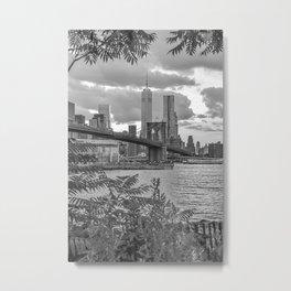 Black and White Brooklyn Bridge view Metal Print