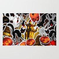 saga Area & Throw Rugs featuring Halloween Spooky Cartoon Saga by BluedarkArt