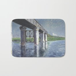 Gustave Caillebotte - The Seine and the Railroad Bridge at Argenteuil Bath Mat