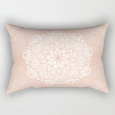 Seashell Mandala Coral Pink and White by Nature Magick Rectangular Pillow