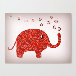 Red Circles Elephant Canvas Print