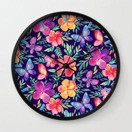 Summer Blooms & Butterflies on Dark Purple Wall Clock