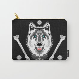 Silver Wolf Geometric Carry-All Pouch