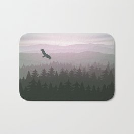 mountain forest in fog and sunrise with stars Bath Mat