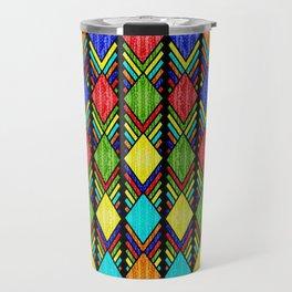 African Beaded Diamonds, Black Travel Mug