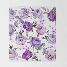 Elegant Girly Violet Lilac Purple Flowers Throw Blanket