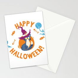 Happy Halloween Funny Witch Kitty Stationery Cards
