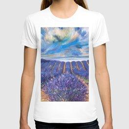 Fields of Lavender landscape painting by Vincent van Gogh T-shirt