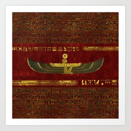 Golden Egyptian God Ornament on red leather Art Print