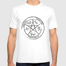 Supernatural Devil's Trap (black on white) MEDIUM White Mens Fitted Tee